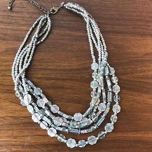 Chico's Statement Necklace Silver Multi Strand